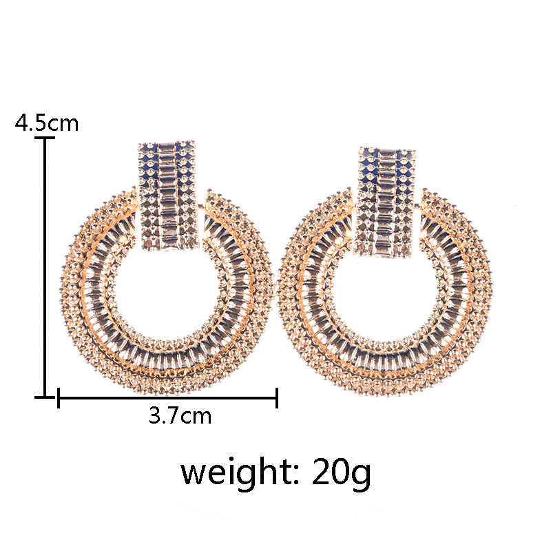 PPG&PGG Classic Around Circle Gold Silver color metal Dangle Drop earrings For Women Vintage Punk Statement Earrings ZA Jewelry