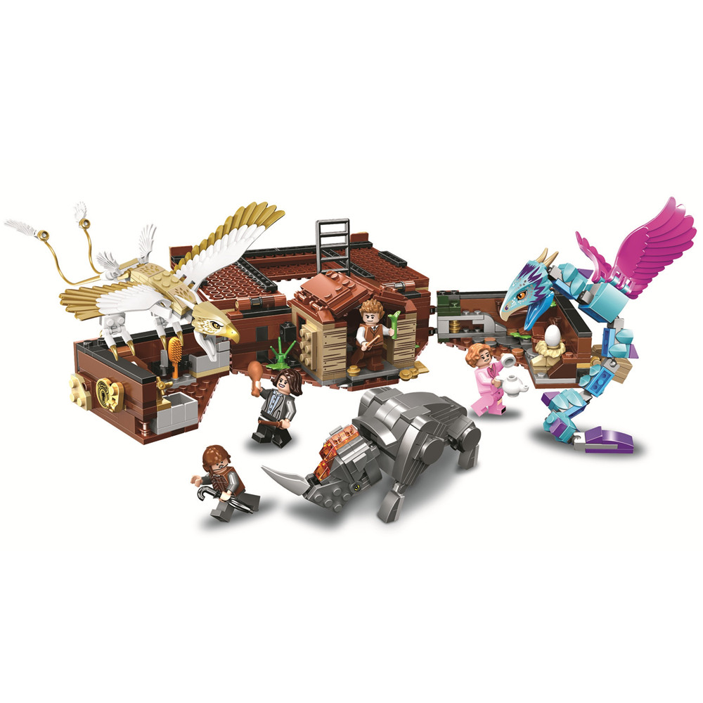 Newt's Case of Magical Creatures Harry Building Blocks Kit Brick Sets Classic Movie Potter Model Kids Toys Gift Compatible Legoe in stock 16059 harry movie potter legoingp 75952 newt s case of magical creatrues set model building blocks kids toys christmas