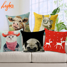 Hyha Pug Animal Cushion Cover Cotton Linen Koala Lion Hippo Cosplay Home Deocrative Pillows Cover for Sofa Cojines(China)