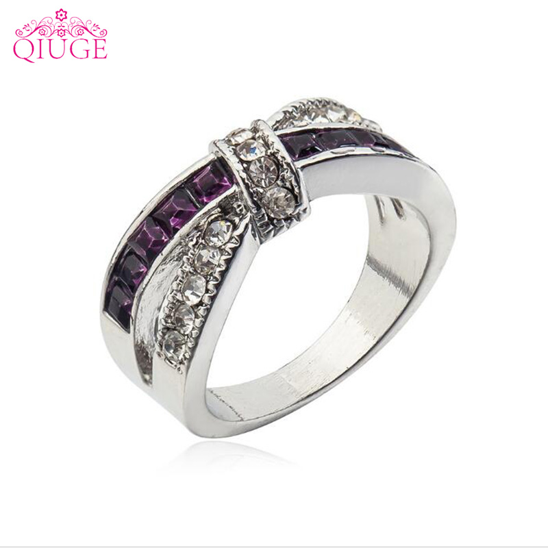 Qiuge New CZ Cubic Zirconia Purple Crystal Cross Bow Big Princess Finger Ring Women Lady Wedding Engagement Jewelry Bijoux