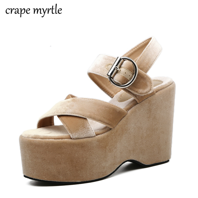 6101125e38d7 2018 New Flock Summer Women Shoes Open Toe High Platform Wedges Women  Sandals Comfortable Ladies Shoes Drop Shipping YMA262