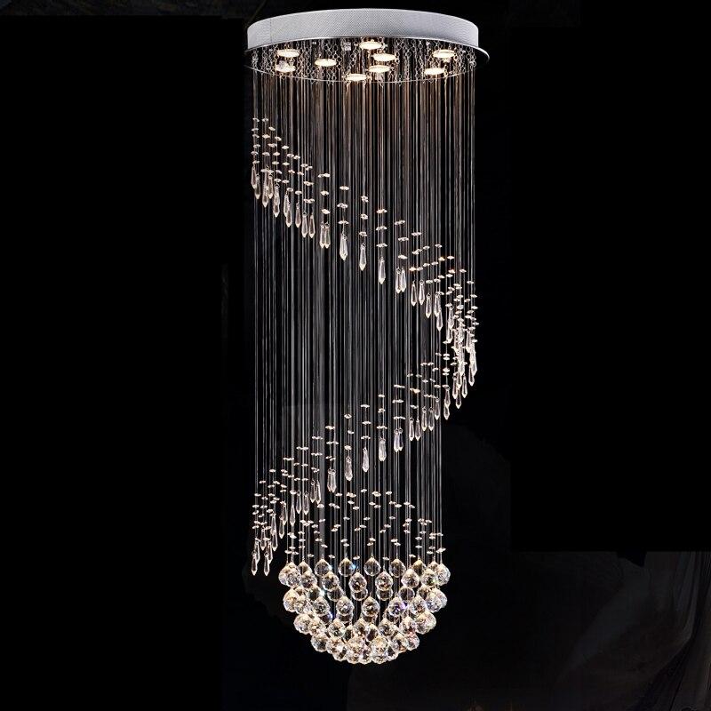 Spiral K9 Crystal Pendant Lamp Living Room Villa Modern Lustres Decoration Lu