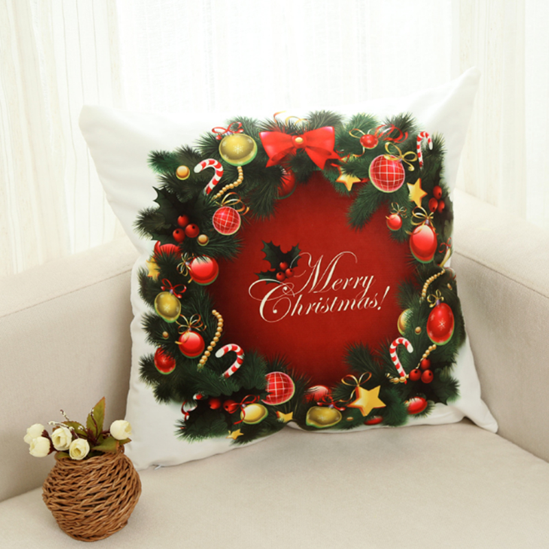 Santa Claus Christmas gifts pillowcase Car cushion ins wind cushion office sofa bedroom cute pillow Home decoration 45x45cm in Cushion Cover from Home Garden