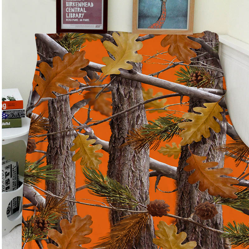 Blanket Comfort Warmth Soft Plush Easy Care Machine Wash Camo Trees Orange Fashion Sofa Bed Throw Kid Adult Warm Blanket