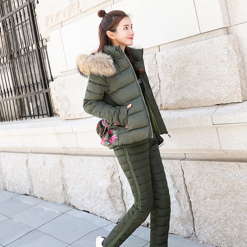 Tracksuit For Women 2017 Winter Womens Hooded Fur Collar Down Cotton Jacket Coat+pants Suits Female Camouflage 2 Piece Set Warm Jackets & Coats Parkas