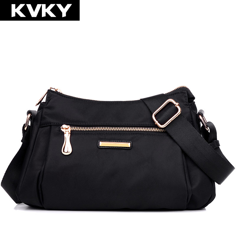 KVKY New Casual Womens Handbag Waterproof Nylon Shoulder Crossbody Bags Casual Solid Tote Fashion Small Messenger Bags bolsas