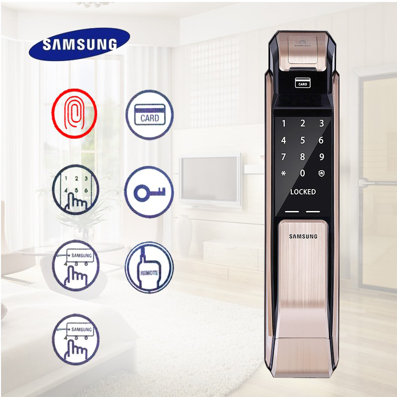 Samsung SHS-P718 Fingerprint Digital Door Lock / Push Pull Door Lock golden color цены