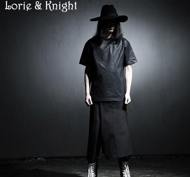 Japonês Harajuku Cosplay Bezerro-Comprimento dos homens Punk Gótico Culottes Calças Calças Harém Personalidade