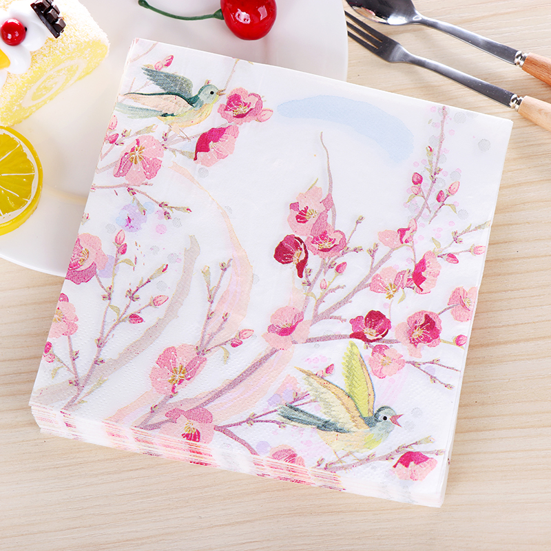 Pink Flower Painting Birds Paper Napkins Cafe & Party Tissue Napkins Decoupage Decoration Paper 33cm*33cm 20pcs/pack/lot линолеум ideal start coral 2077 3 5м