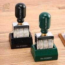 Деревянная ручка ролик Печать Дата diy штампы для скрапбукинга