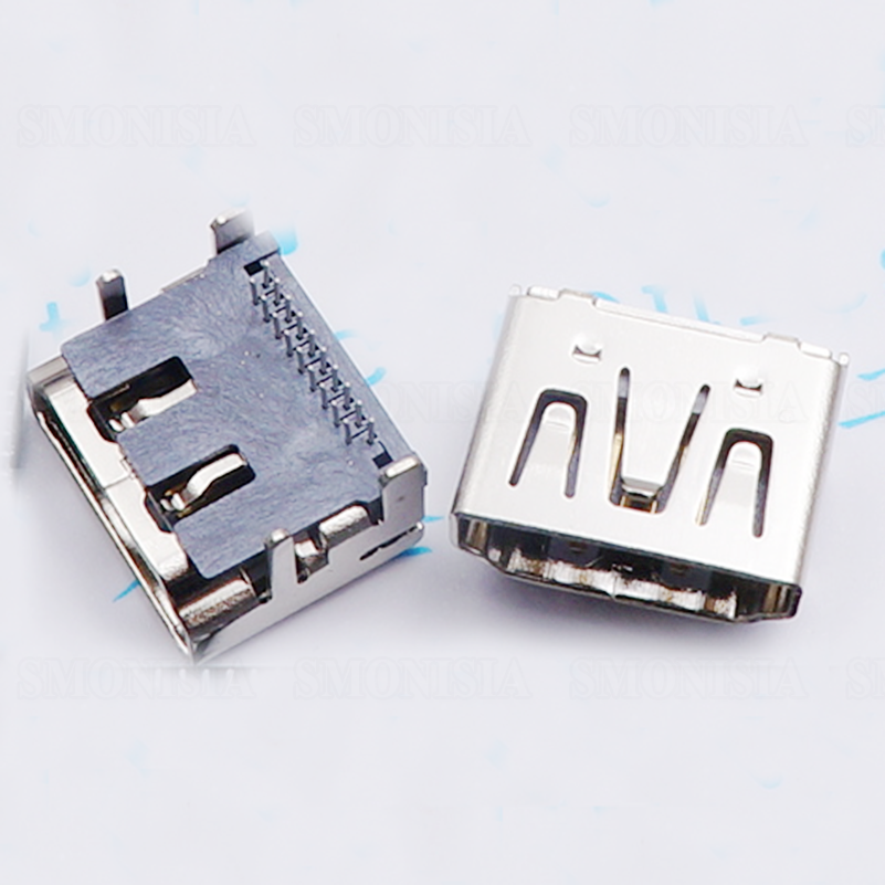 HDMI Interface Female Socket 19Pin Double-row Pins HD Plug Silver Plated