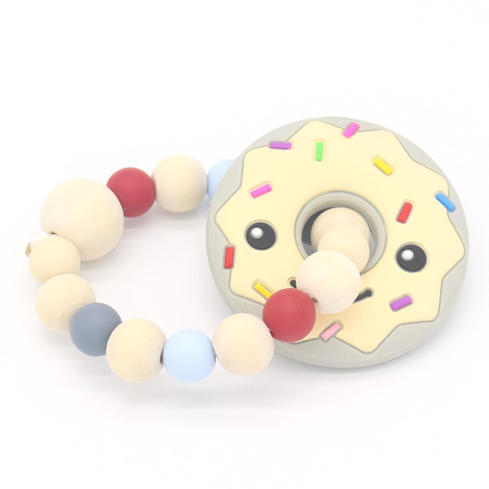 Newborn Silicone Beads Doughnut Baby Bracelet Teething Teether Molars Biscuit Silicone Beads Rattle Baby Teether