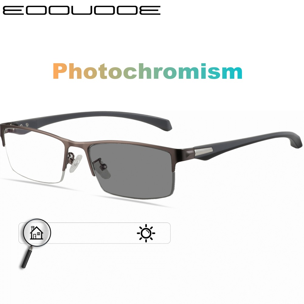 Titanium Alloy Sunglasses Transition Photochromic Reading Glasses Men Hyperopia Presbyopia with diopters