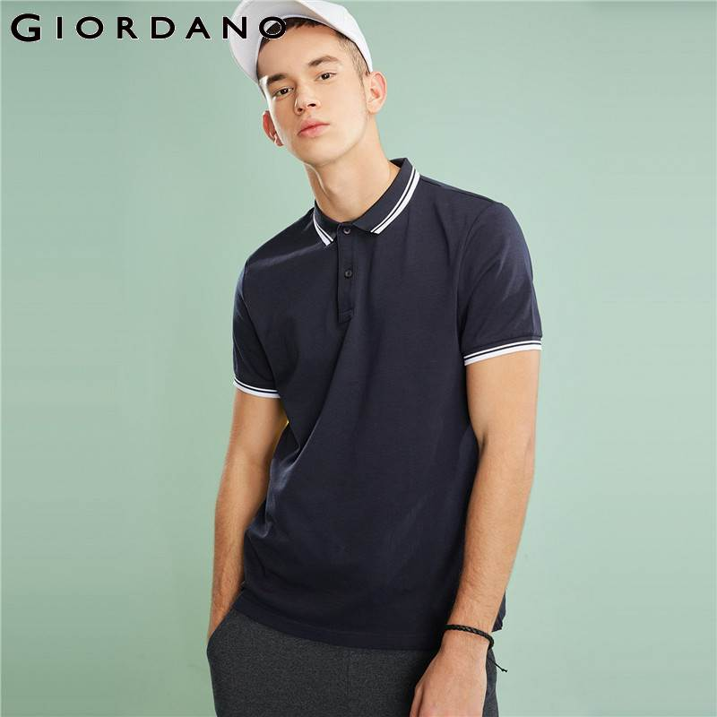 Giordano Men Polo Fast Dry Solid Tops Men Short Sleeves Flat Collar Mens Tops Male Clothing Casual Summer Series 2018