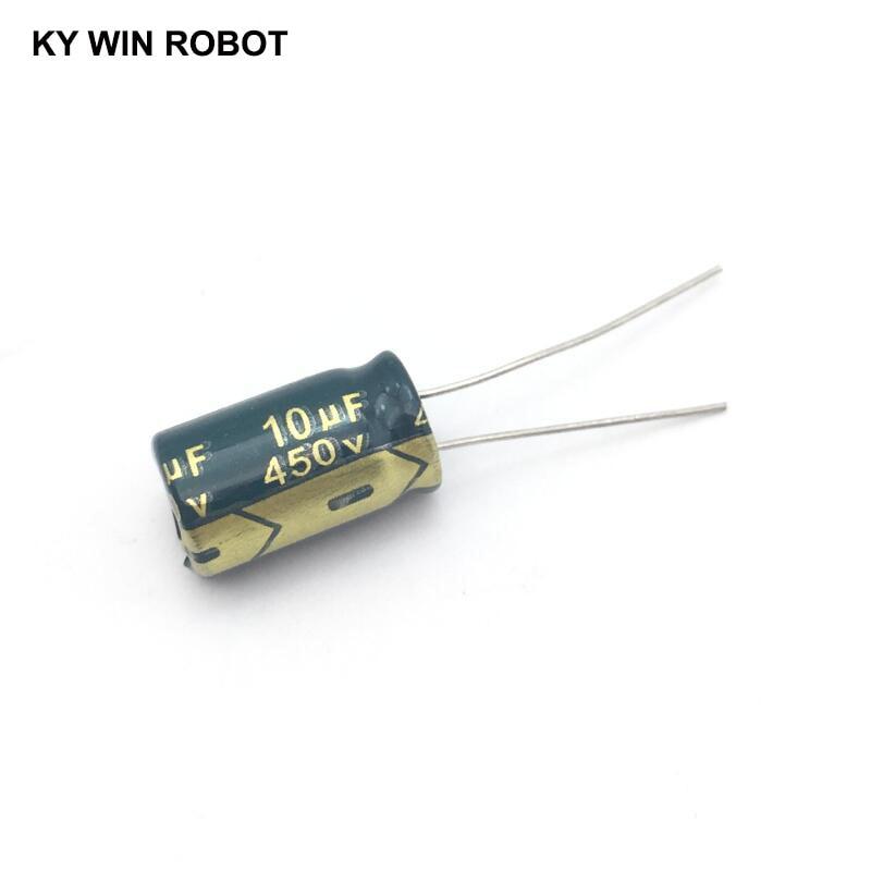 10 Pcs Aluminum Electrolytic Capacitor 10 UF 450 V 10 * 17 Mm Frekuensi Tinggi Radial Electrolytic Kapasitor