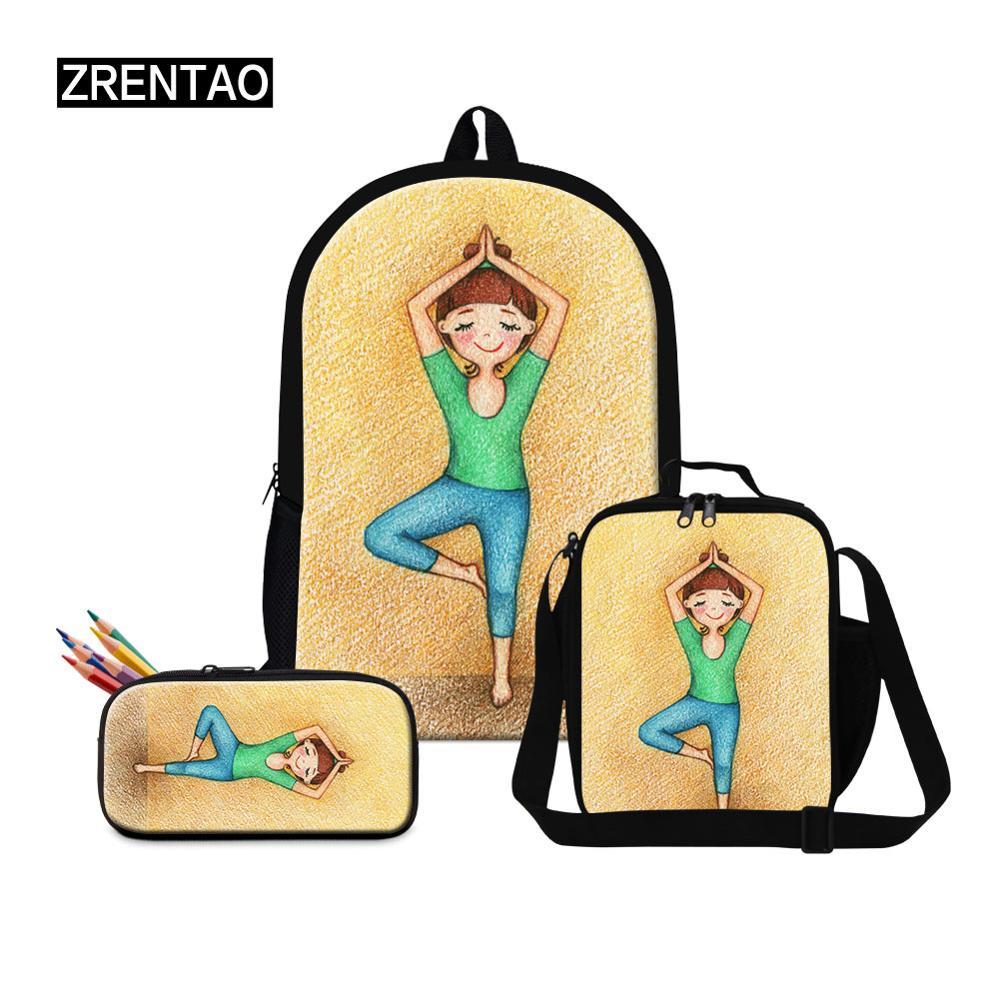 Lightweight Fashion 3 PCs Set Yoga Ballet Dance Printing Little Baby Girls Schoolbag Book Rucksack Big School Knapsack Mochilas
