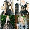 Único negro de encaje de tul vestido de boda con apliques rebordear lentejuelas con cuello en V sin respaldo balón vestido princesa prometida vestido de novia