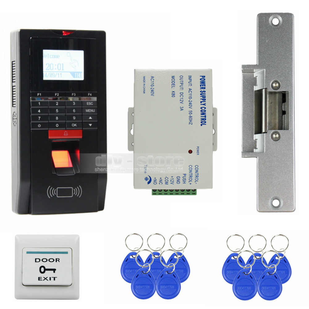 DIYSECUR Fingerprint Id Card 125KHz RFID Reader Password Keypad Door Access Control System Kit Strike Lock for Office / House