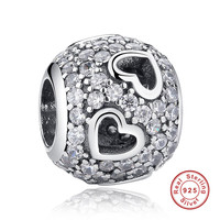New Trendy 925 Sterling Silver Charms Tumbling Hearts Clear CZ Charm Fit Bracelet Accessories