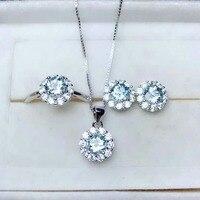shilovem 925 sterling silver real Natural aquamarine Rings pendants stud earrings fine Jewelry women wedding new mtz0505019aga