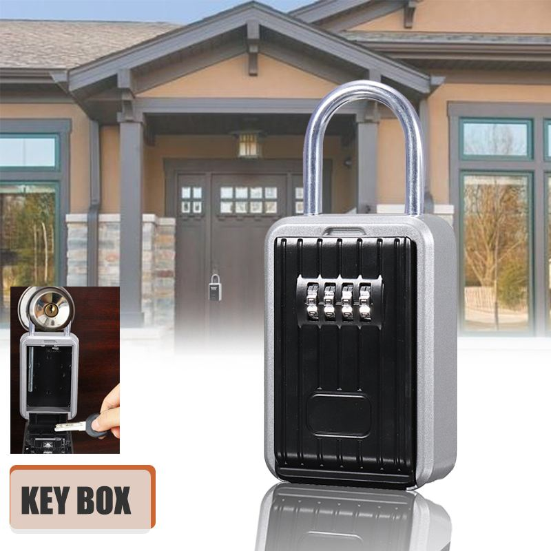 Safurance Key Safe Box Outdoor Key Lock Box Aluminium Waterproof 4 Digit Combination Password