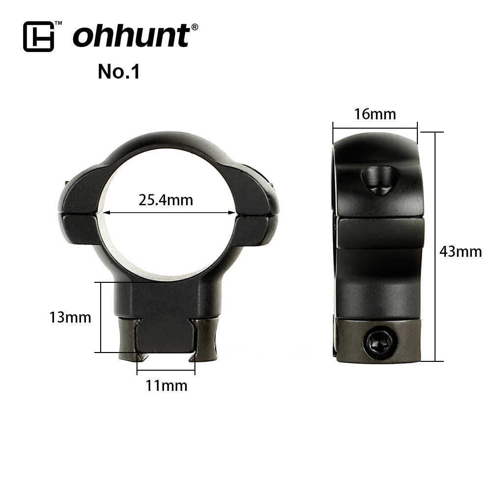 ohhunt 2PCs Tactical Steel Rings 1 inch 30mm 11mm Dovetail Rail Low High Medium Profile Scope Mount for Hunting Riflescope