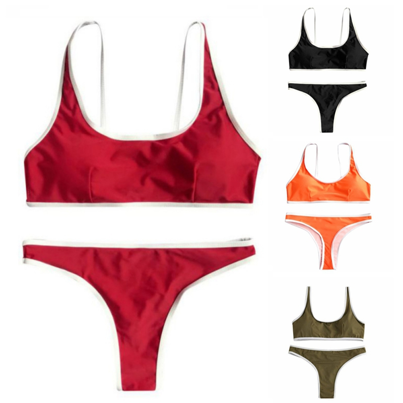 4 Colors Sports Bikinis Set Women Solid Beach Swimsuit Padded Swimsuit Swimwear Bathing Push Bikini Sexy Sports Bikini Set
