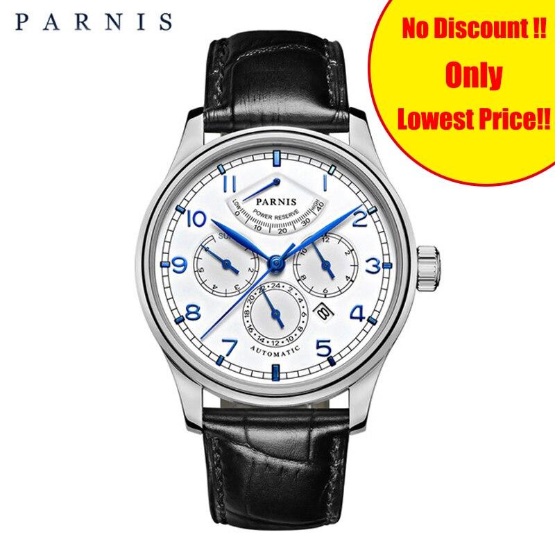 Parnis 42mm automatique montres pour hommes Phase de lune réserve de marche hommes montre de luxe marque Top miborough mécanique remontoir horloge cadeau homme