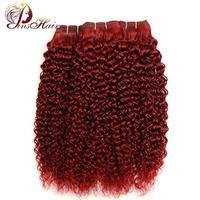 Pinshair смелый красный 99j бордовый перуанский Джерри вьющиеся волосы 3bundles один пакет non-реми предварительного Цветной 10 -26 дюймов человека Синт...
