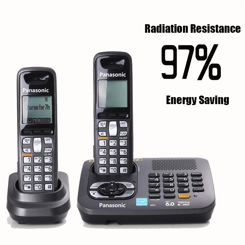 Two Handset 1.9 GHz Dect 6.0 Digital Cordless Telephone Backlight Home Wireless Phone Fixed Telephone With Alarm Answer System panasonic kx tg2512ru1 dect phone 2 handset digital cordless telephone wireless phone system home telephone