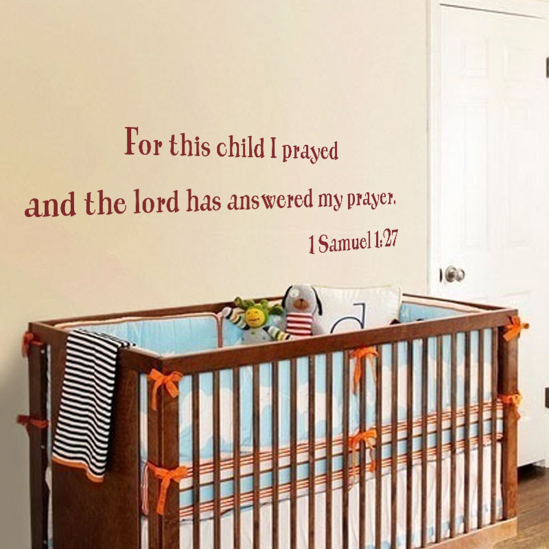 For This Child I Have Prayed Nursery Wall Decal Vinyl Quote