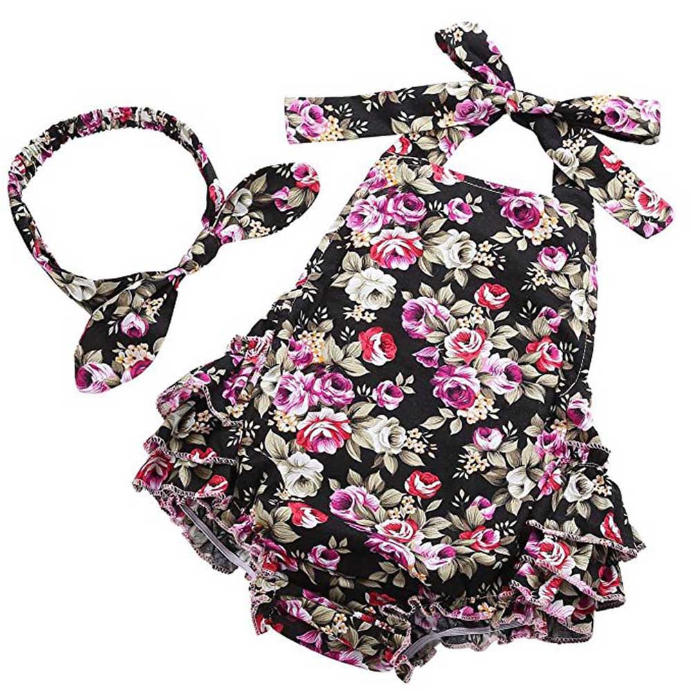 MUQGEW Floral Romper Baby Girls Clothes Floral Print Sleeveless Headband Set Romper Playsuit Baby Clothing Macacao Q06