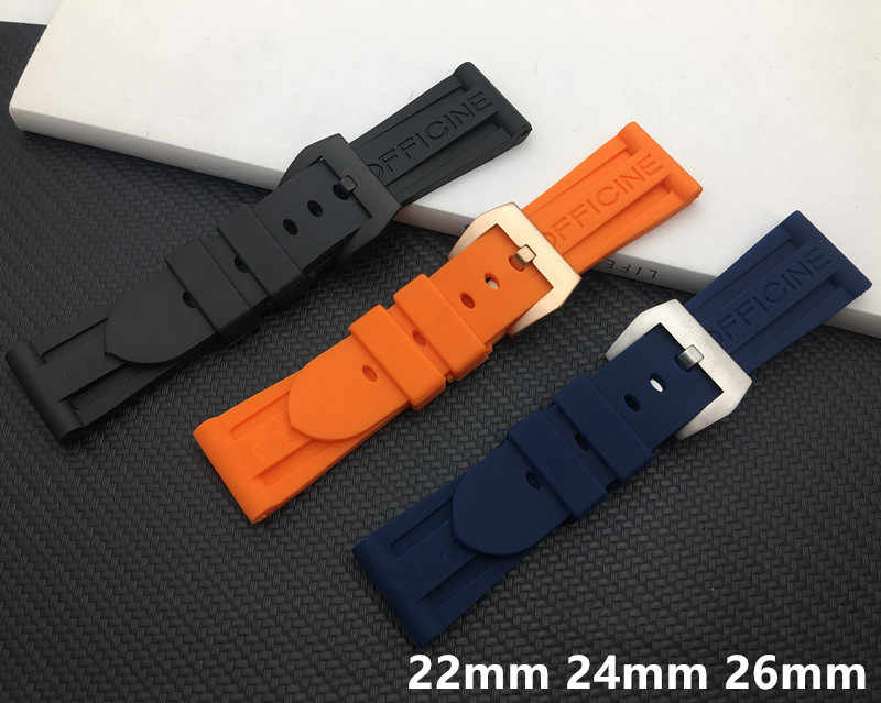 Luxury Brand Black Orange Blue Rubber Silicone Whatchband Watch Band For Panerai strap 22mm 24mm 26mm with PAM word belt buckle