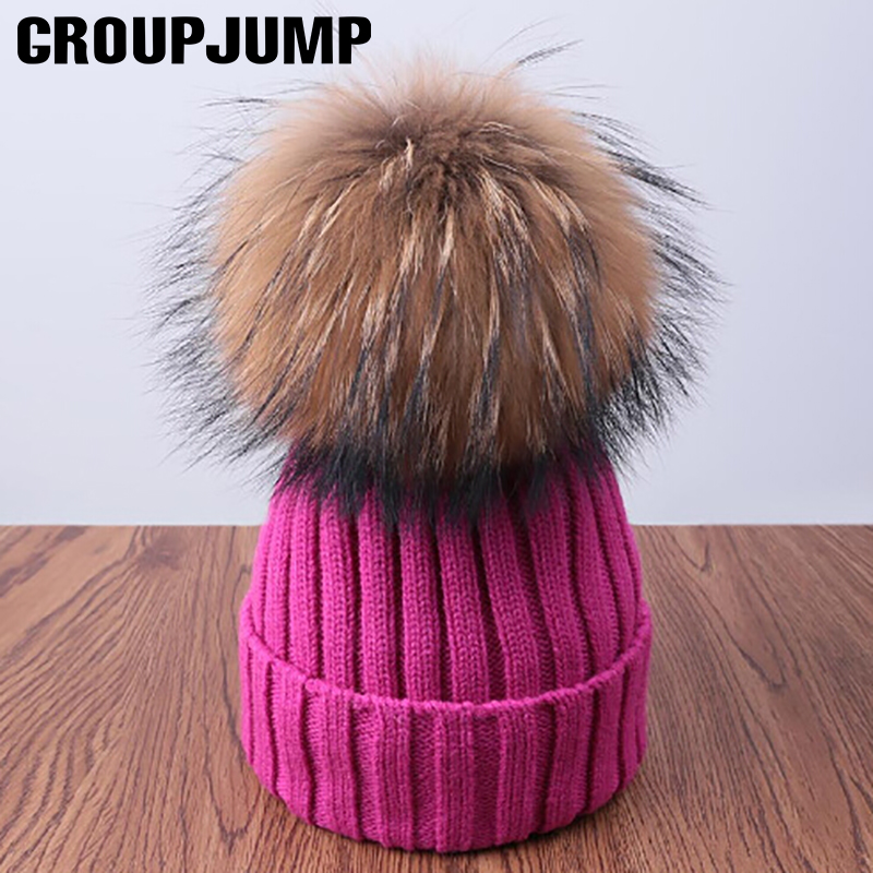 Fashion Pompoms Winter Hat For Women Pom Poms Warm Skullies Beanies Women Hat Cotton Knitted Beanies