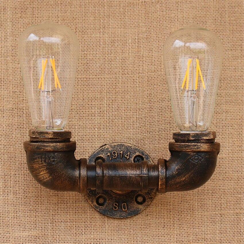 Vintage Water Pipe Wall Light Fixture Industrial Brass Light Wall - 2 light bathroom sconce