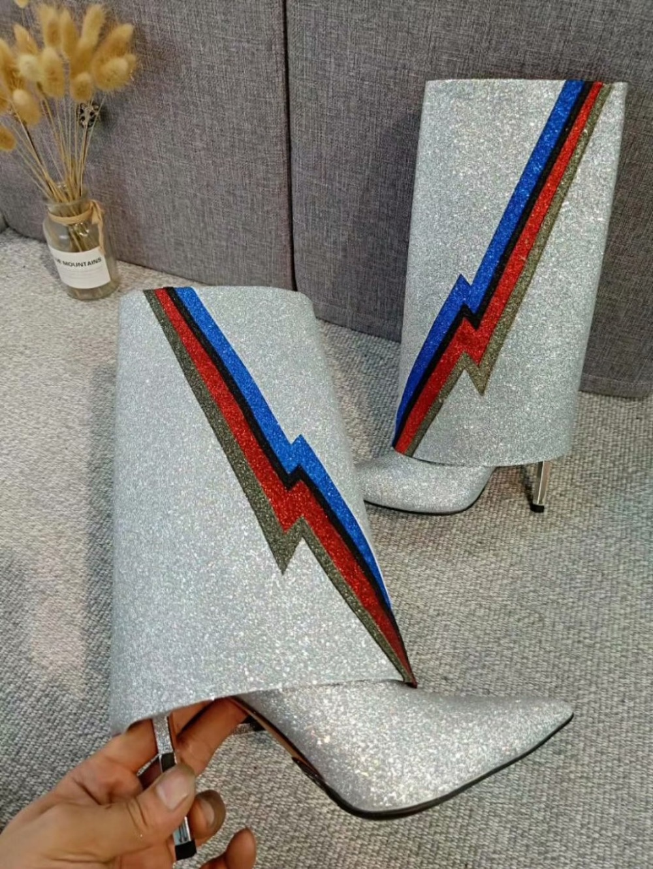 Botas De Cuero Manera Dedo Tacón Sequin Metal Fotos Plata Mujer Nueva Colorido Relámpago Pie La Puntiagudo Del Reales Polvo EwIxFawq