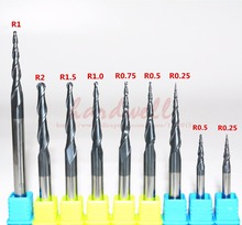 R0.25  R0.5 R0.75 R1.0 R1.5 R2.0-1PCS,CNC solid carbide woodworking router bit,TiALN HRC55 tapered ball nose end mill,Cone bit