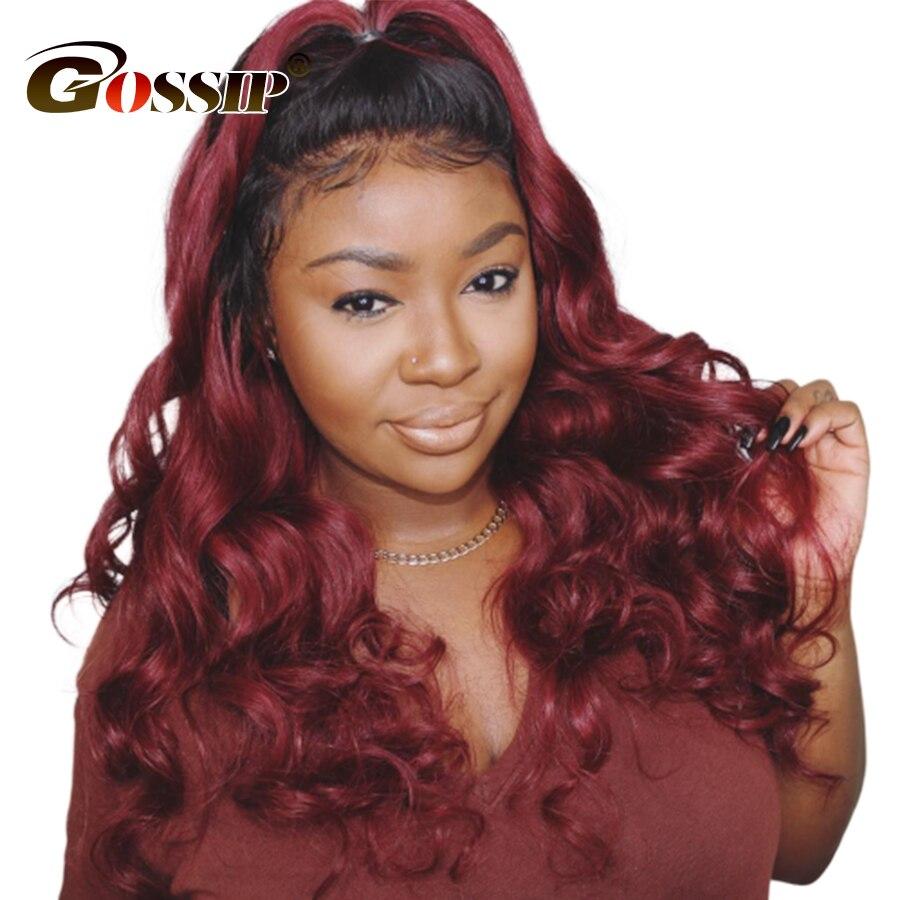 T1B 99J Burgundy Brazilian Hair Weave Bundles With Closure Gossip Brazilian Body Wave Human Hair With