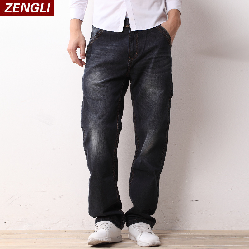 ZENGLI Elasticity Straight Jeans New Arrivals Summer Casual Mens Jean Long Pants For Male Denim Jeans 44 46 48