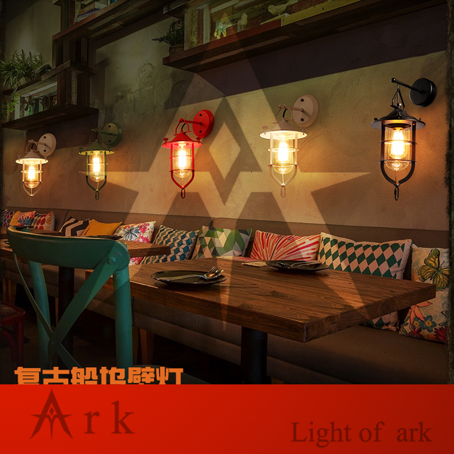ark light American vintage nostalgic sconce light black stair pendant light classical wall light coffee room bar