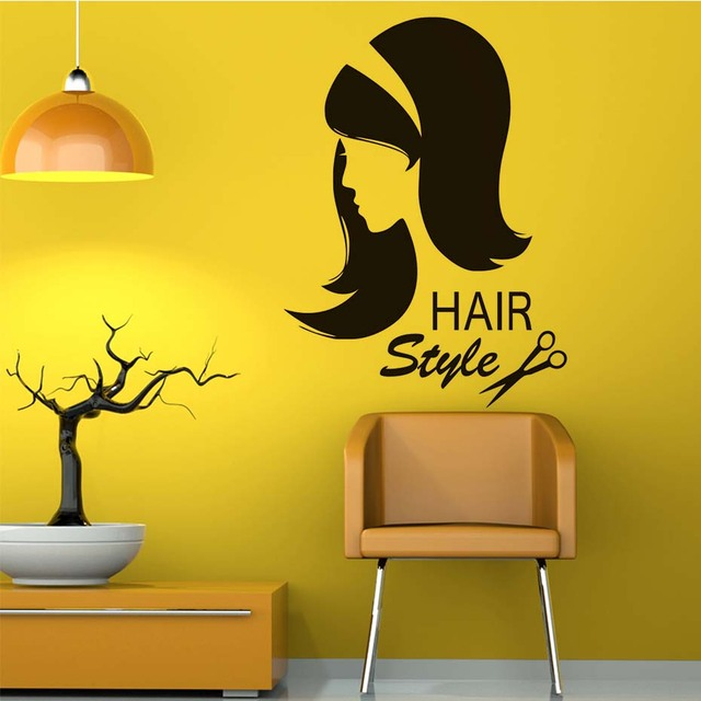 Hairstyle Beauty Salon Wall Art Sticker Hairdressing Beautiful Girl ...