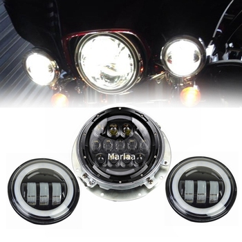 For Touring Electra Glide Road King 7inch LED Headlight Projector & 4.5inch Passing Lamps Fog Lights & Adpter
