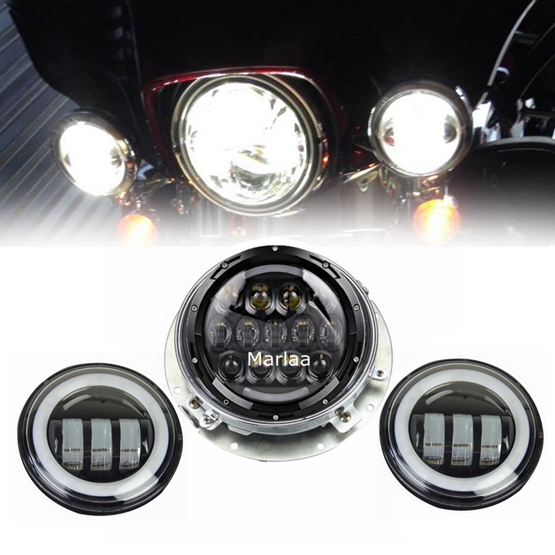 For Touring Electra Glide Road King Harley Daymaker 7inch LED Headlight Projector & 4.5inch Passing Lamps Fog Lights & Adpter 7 inch daymaker led headlight dot kit set fog passing lights for harley davidson ultra classic electra street glide road king