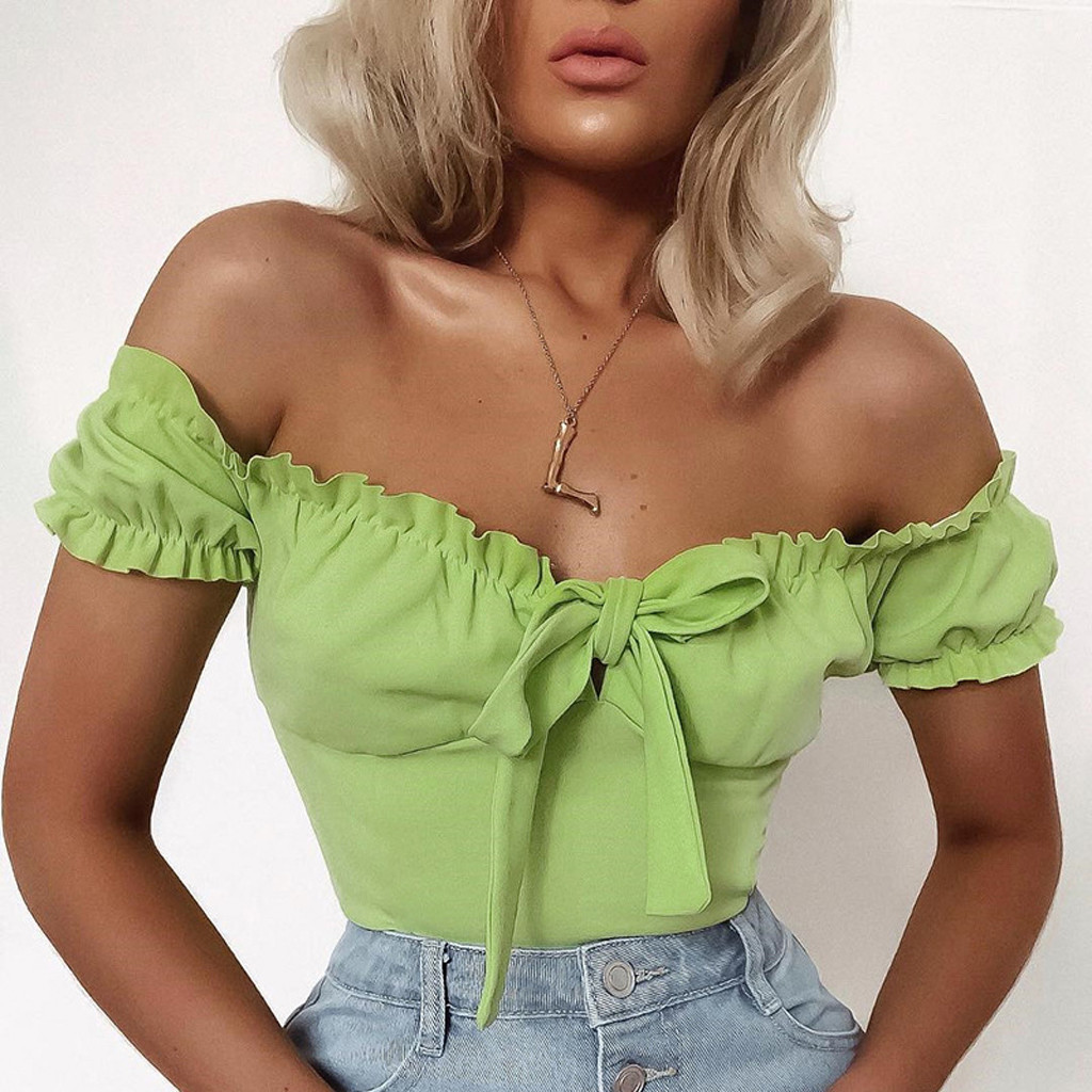 Sexy ruffle Bodysuits Women Off Shoulder Tops elegant summer beach holiday party wear sweet Falbala Jumpsuits Mono Mujer#es