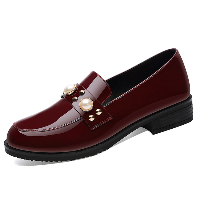 4d8c6d66b5b5 2018 Brand Europe designer Penny Loafer Women Genuine Cow Leather Round Toe  Slip On Shoes Patent Leather Brogue Pumps Handmade