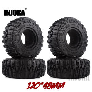 "Image 1 - INJORA 4PCS 2.2"" Mud Grappler Rubber Tyre 2.2 Wheel Tires 120*48MM for 1:10 RC Rock Crawler Traxxas TRX4 TRX 6 Axial SCX10 90046"
