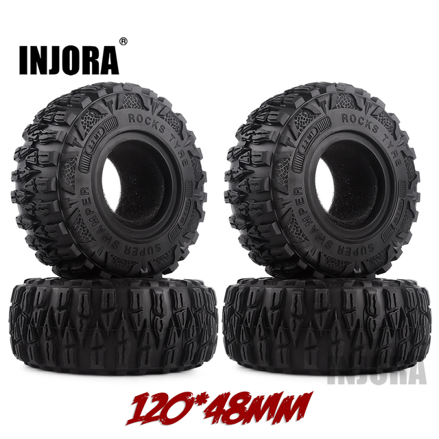 "INJORA 4PCS 2.2"" Mud Grappler Rubber Tyre 2.2 Wheel Tires 120*48MM for 1:10 RC Rock Crawler Traxxas TRX4 TRX 6 Axial SCX10 90046"