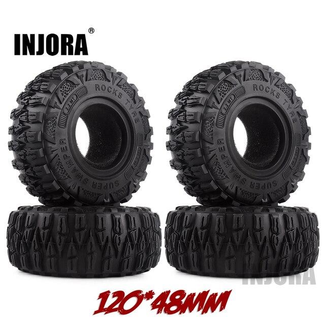 """INJORA 4PCS 2.2 """"Schlamm Grappler Gummi Reifen 2,2 Rad Reifen 120*48MM für 1:10 RC Rock crawler Traxxas TRX4 TRX 6 Axial SCX10 90046"""
