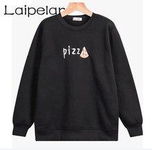 2018 Fashion Hoodie White Letter Pizza Sweatshirt Long Sleeve Women Sweatshirts Laipelar