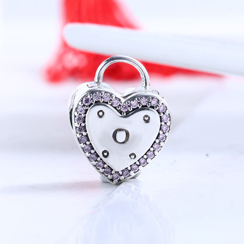 Authentic 100% 925 Sterling Silver Fit Original Pandora Bracelet Lock Your Promise Clip CZ Clip Charm Beads for Jewelry Making